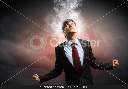 businessman in anger stock photo, businessman in anger with fists clenched and steam above head by Sergey Nivens