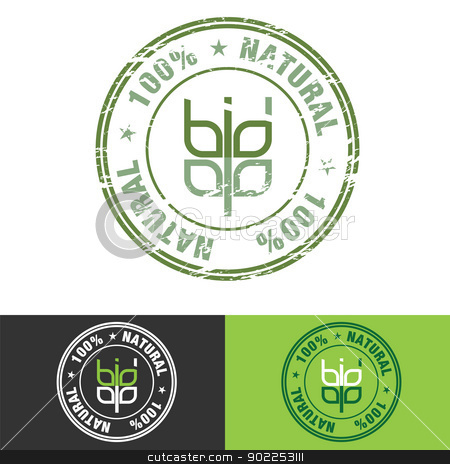 Grunge Stamp with wheat symbol stock vector clipart, 100 % Natural and Wheat Symbol as Bio word Stamp as healthy nutrition concept illustration. by antkevyv