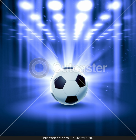 black and white soccer ball stock photo, Black and white football or soccer ball, colour illustration by Sergey Nivens