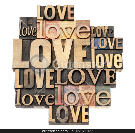 love word in wood type stock photo, love word abstract - a collage of isolated text in vintage letterpress wood type printing blocks, a variety of fonts by Marek Uliasz