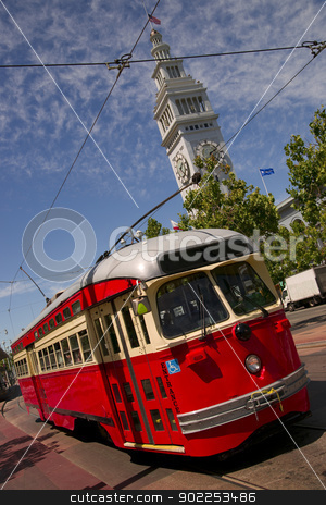 Bright Colored Trolley In San Francisco stock photo, Street Trolley or Cable Car makes the Rounds Downtown by Christopher Boswell