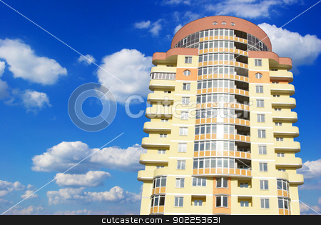 home stock photo, A modern apartments building on sky by Vitaliy Pakhnyushchyy