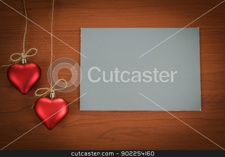 empty note for valentine message stock photo, empty note for valentine message on wooden background by Artush