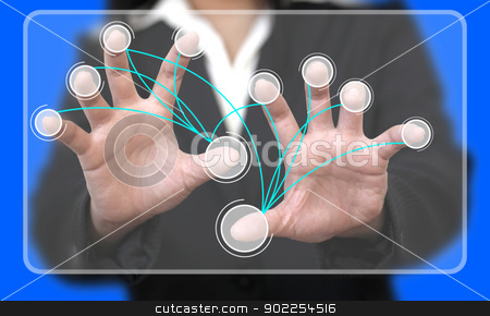 Virtual Touchscreen Interface Connection stock photo, Business Hand Touch on Virtual Touchscreen Interface with Blank Button Connection (Selective focus on finger) by Vichaya Kiatying-Angsulee
