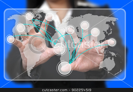Virtual Touchscreen Interface stock photo, Business Hand Touch on Virtual Touchscreen Interface with Blank Button Connection (Selective focus on finger) by Vichaya Kiatying-Angsulee