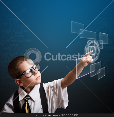 Little business boy stock photo, Little business boy pressing digital button by Grafvision