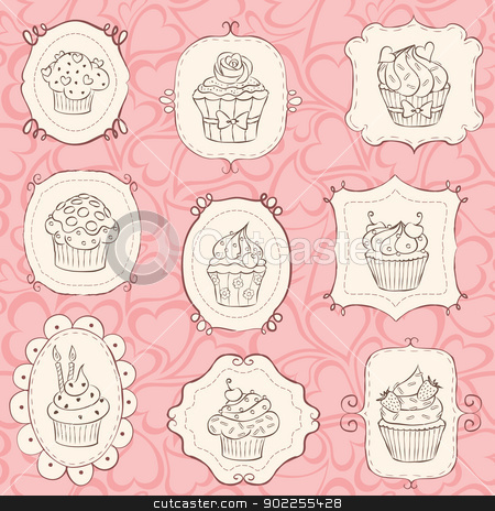 Cupcakes Set stock vector clipart, Cupcake set with heart seamless pattern. by wingedcats