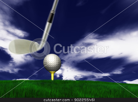 Golf ball on tee stock photo, Golf ball on tee in front of driver on a gold course by p.studio66