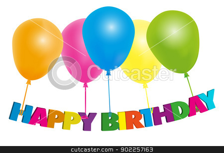 Happy Birthday Card stock vector clipart, Happy Birthday Card- Color Balloons With Sign - Isolated on White by JAMDesign