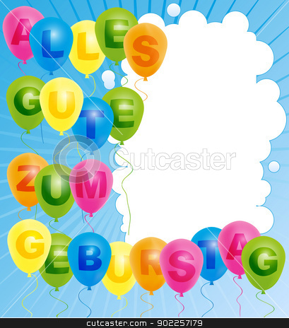 Happy Birthday Card German Stock Vector