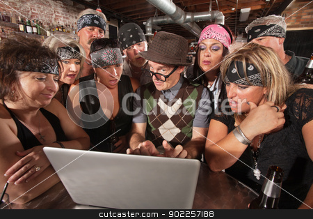 Biker Gang Interested in Nerd on Laptop stock photo, Group of impressed biker gang members watching nerd using a computer by Scott Griessel