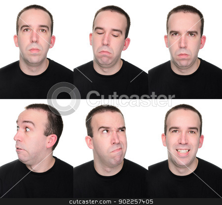Emotions stock photo, A man showing off multiple emotions or expressions. by Richard Nelson