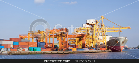 Panorama Shipping stock photo, Panorama of Cargo industrial ship unloading goods at Terminal Port by Vichaya Kiatying-Angsulee