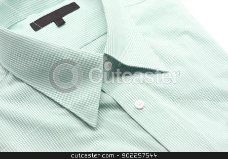 green business shirt stock photo, Close up view of a generic green business shirt with a line pattern by Vichaya Kiatying-Angsulee