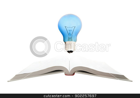 concept of Retro book and light bulb, isolated on white backgrou stock photo, concept of Retro book and light bulb, isolated on white background by Vichaya Kiatying-Angsulee