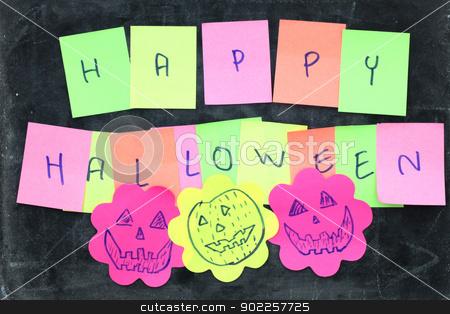 Happy halloween stock photo, Happy halloween made from memo stick paper craft on blackboard by Vichaya Kiatying-Angsulee