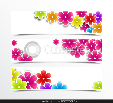 banner stock vector clipart, Illustration of set of banner with flowers  by Miroslava Hlavacova