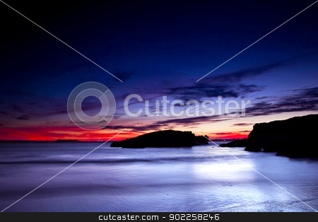 Beautiful south Europe beach stock photo, Beautiful sunset in a beach of south Europe by ikostudio