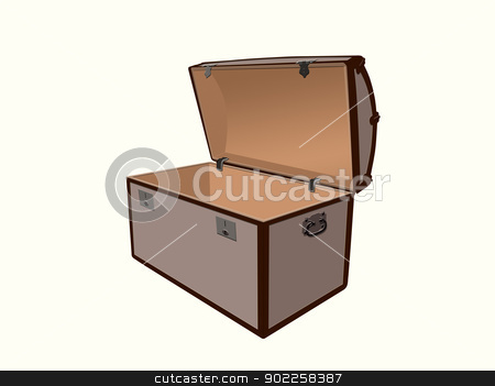 Treasure box stock photo, Generic ilustration of a treasure box, open and empty on a white background. by Sinisa Botas