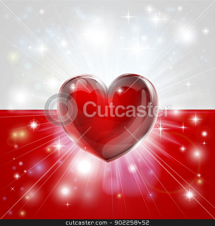 Love Poland flag heart background stock vector clipart, Flag of Poland patriotic background with pyrotechnic or light burst and love heart in the centre by Christos Georghiou