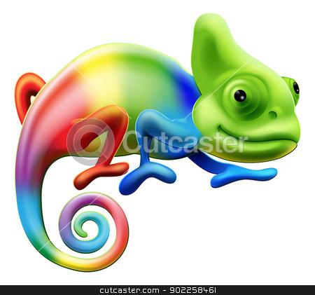 Rainbow chameleon stock vector clipart, An illustration of a cartoon rainbow coloured chameleon by Christos Georghiou