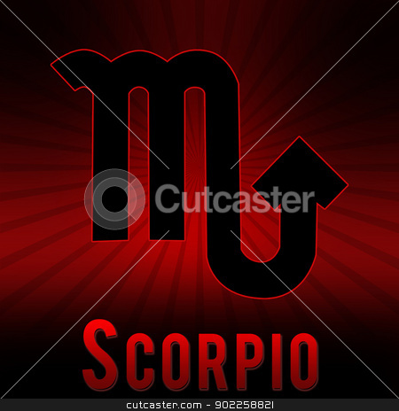 Scorpio symbol with a red background and black burst. stock photo, Scorpio symbol with a red background and black burst. by Chirag Pithadiya