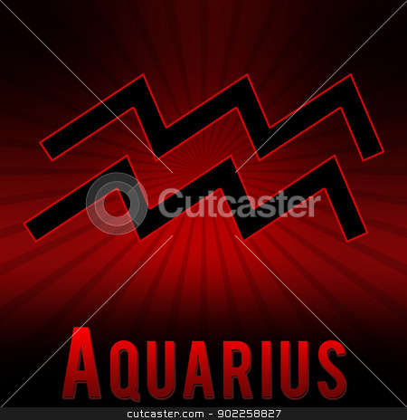 Aquqrius symbol with a red background stock photo, Aquqrius symbol with a red background and black burst. by Chirag Pithadiya