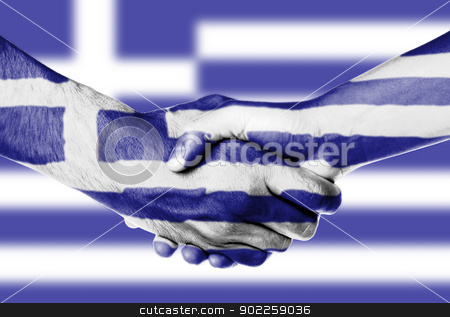 Man and woman shaking hands stock photo, Man and woman shaking hands, wrapped in flag pattern, Greece by michaklootwijk