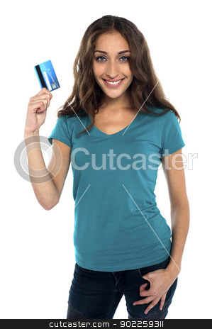 Lets go shopping... stock photo, Gorgeous woman holding credit card. Lets go shopping... by Ishay Botbol