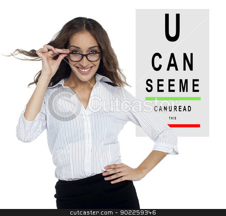 My vision is better now stock photo, Cheerful woman posing with her new spectacles. My vision is clear now. by Ishay Botbol