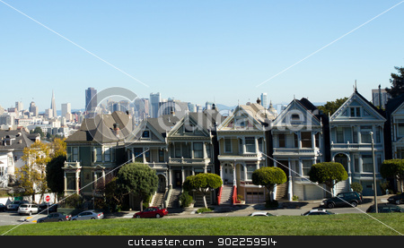 The Painted Ladies of Alamo Square in San Francisco, United-Stat stock photo, The Painted Ladies of Alamo Square in San Francisco, United-States by Click Images
