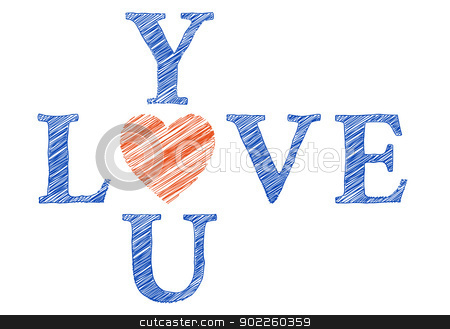 Love you with hand drawn letters, vector stock vector clipart, Love you with hand drawn letters, hand wirtten vector card by Beata Kraus