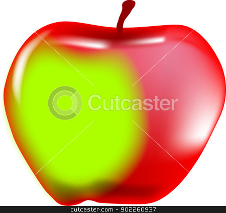 Red and Green Apple stock vector clipart, A large red and green juicy apple. by Kotto