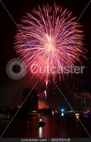 Fireworks stock photo, big pink firework over Chaophraya river Bangkok on Father's day,Bangkok Thailand by Vichaya Kiatying-Angsulee