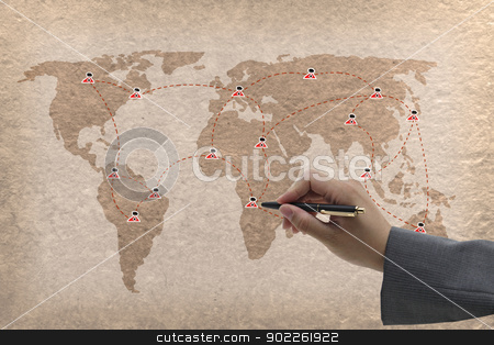 social network stock photo, business hand male writing social network on vintage paper by Vichaya Kiatying-Angsulee