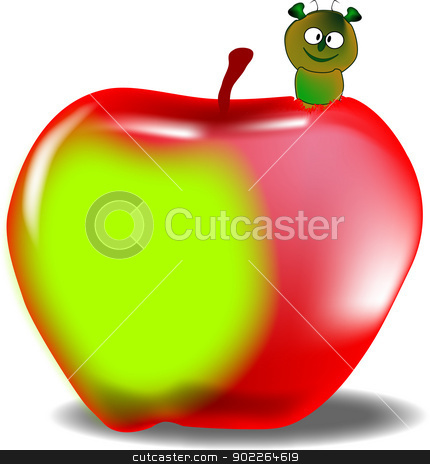 Worm in the Apple stock vector clipart, A large red and green juicy apple with a worm emerging. by Kotto
