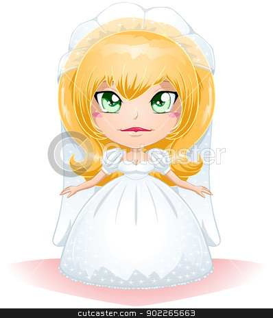 Bride Dressed For Her Wedding Day 3 stock vector clipart, A vector illustration of a bride dressed for her wedding day. by Liron Peer