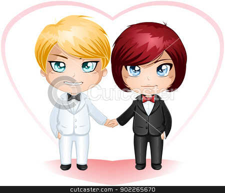 Gay Grooms Getting Married 3 stock vector clipart, A vector illustration of gay men dressed in suits for their wedding day. by Liron Peer