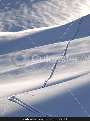 Off-piste ski track stock photo, Off-piste ski track in sunset light by Krzysztof Nahlik
