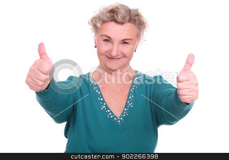 Happy old lady isolated stock photo, Happy old lady isolated on whitebackground by yekostock
