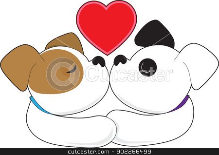 Puppies Kissing stock vector clipart, Two puppies, one with eyes closed and the other with eyes open, kiss with a red heart up above them. by Maria Bell
