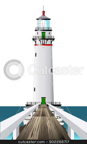Lighthouse stock vector clipart, A lighthouse and its well worn wooden footbridge. by Kotto