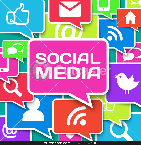 Social network icons on colors stock photo, Social network icons on colors, Vector Illustration by Godruma