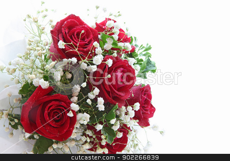 rose bouquet stock photo, rose bouquet isolated on white using in wedding or any greeting ceremony side perspective by Vichaya Kiatying-Angsulee