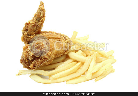 crispy and spicy fried chicken wing with french fries stock photo, crispy and spicy fried chicken wing with french fries by Vichaya Kiatying-Angsulee