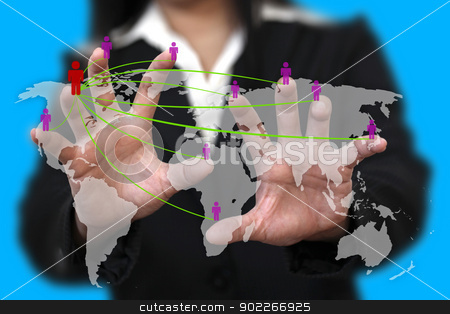 world social network concept stock photo, female hand do social network concept with world map background by Vichaya Kiatying-Angsulee