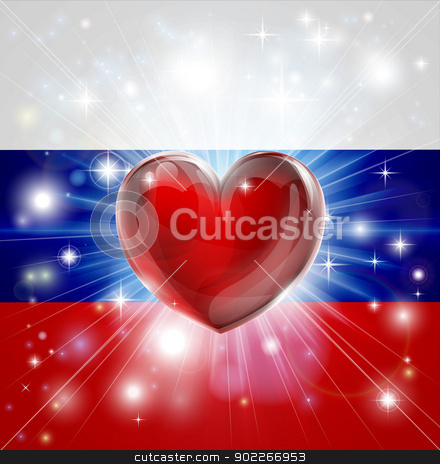 Love Russia flag heart background stock vector clipart, Flag of Russia patriotic background with pyrotechnic or light burst and love heart in the centre by Christos Georghiou