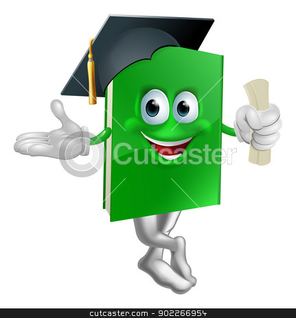 Graduate education book mascot stock vector clipart, Illustration of a green graduation book education mascot wearing a mortarboard cap and holding a certificate. by Christos Georghiou