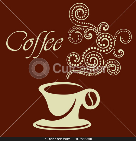 coffee cup sign  stock vector clipart, illustration of stylized cup of coffee  by bobyramone