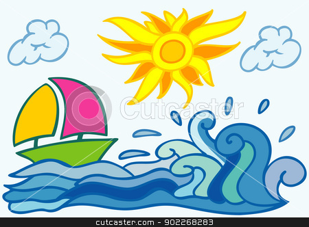 summer background with sea boat sun and clouds stock vector clipart, abstract illustration of sea boat sun and clouds by bobyramone